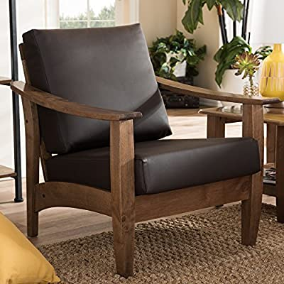 Baxton Studio Phanessa Mid-Century Brown Faux Leather Accent Chair - Mid-century modern style living room 1-seater lounge chair Set includes one (1) lounge chair Materials: solid rubberwood, poplar, plywood board, rubberwood veneer, foam, faux leather - living-room-furniture, living-room, accent-chairs - 51u11Q2wcuL. SS400  -