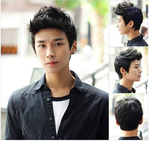 ATOZWIG@Handsome Sunshine Boys' Short Straight Layers Natural Hair /Daily Wigs Wig + Free Wig Cap