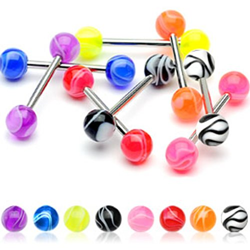 Marble Acrylic WildKlass Ball 316L Surgical Stainless Steel WildKlass Barbells (Sold by Piece)