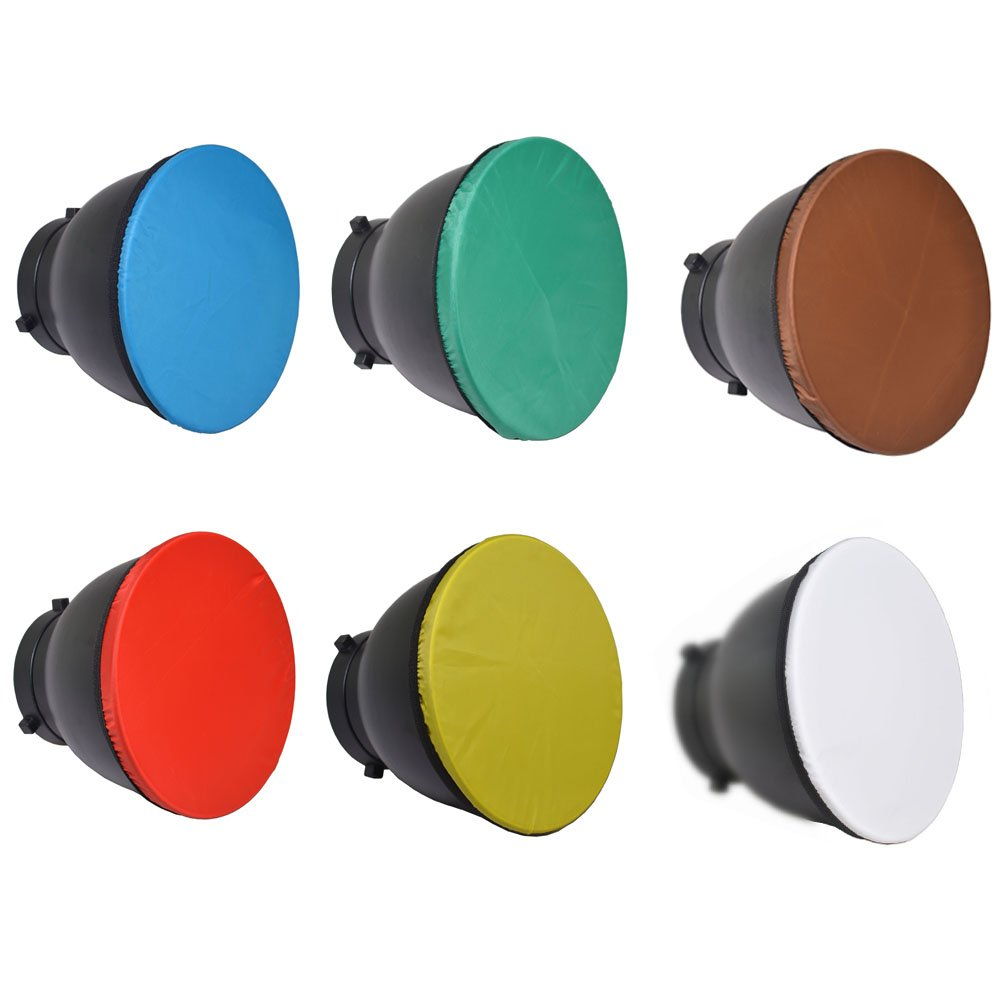 Bestshoot 6PACK 7'' 180mm Light Diffuser Sock for Standard Reflector Red Yellow Blue Brown Green and White for Studio Strobe Standard Bowen Mount Reflector Fits Godox AD360..Monolights Speedlites by Bestshoot (Image #1)
