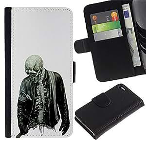 All Phone Most Case / Oferta Especial Cáscara Funda de cuero Monedero Cubierta de proteccion Caso / Wallet Case for Apple Iphone 4 / 4S // Biker Cool Skull Skeleton Zombie Rock