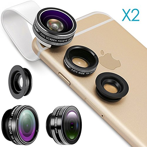 Neewer® 2 Pieces 3-in-1 Clip-on Lens Kit for Android Tablet,ipad,iphone,Samsung Galaxy and other Smartphones,Includes:(2)180 Degree Fisheye Lens+(2)2 in 1 Macro Lens&Wide Angle Lens+(2)Lens Holder