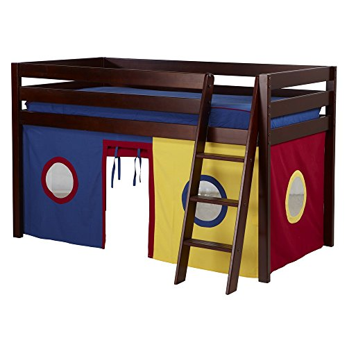 Jackpot! Essentials Low Loft Play Bed with Angled Ladder and Blue, Red, Yellow Curtains, Cherry Finish by Jackpot! Essentials