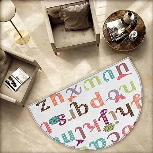 文字Z 半円 ドアマット アルファベットの最後の文字 カリグラフィック デザイン Z シンボル カール 渦巻き ハーフムーン ドアマット 高さ 55.1インチ x 奥行き 82.6インチ ブラック グレー ホワイト H 74.8
