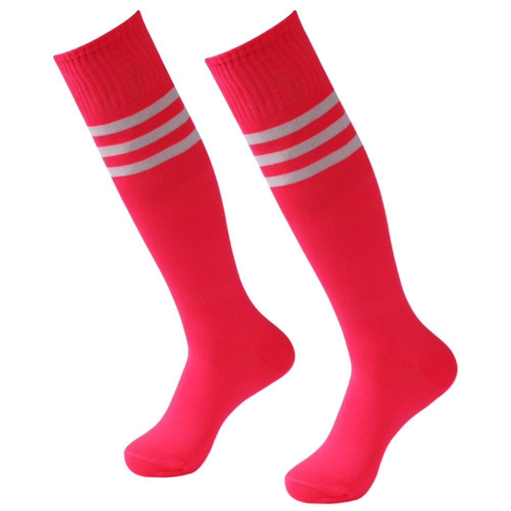 3street ユニセックス ニーハイ トリプルストライプ アスレチック サッカー チューブ ソックス 2 / 6 / 10組 B07849ZHH5 2 Pairs Hot Pink 2 Pairs Hot Pink