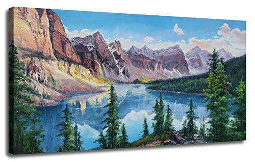 Ardemy Canvas Wall Art Painting Rocky Mountain Blue Lake Moraine Picture, Banff National Park Nature Artwork Gallery and Framed Large Size Panoramic Mural for Home Office Living Room Bedroom Decor (National Gallery Best Paintings)