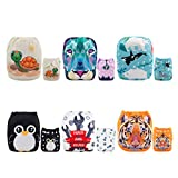 ALVABABY Cloth Diapers Washable Reusable Adjustable 6 PCS + 12 Inserts
