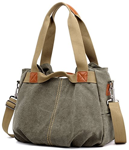 Top Women's Shopper Hobo Z Tote Canvas Vintage Shoulder Purse Green Handbag joyee Army Handle Ladies Casual Daily U5Urpzqwn