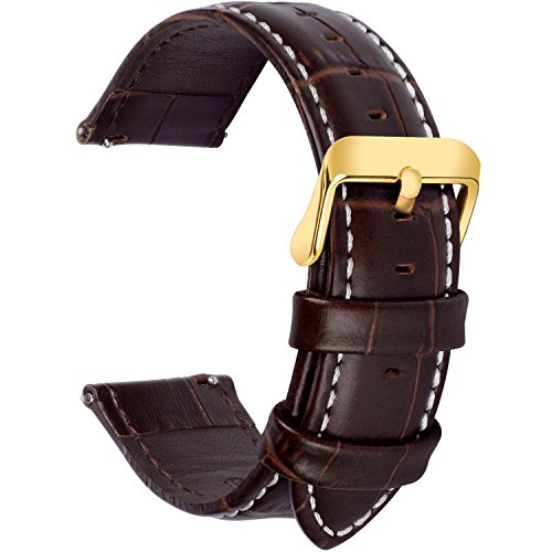 4 Colors for Quick Release Leather Watch Band, Fullmosa Band Replacement 18mm, 20mm, 22mm, 24mm Watch Strap, 20mm Dark -