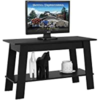 Tangkula 2-Tier TV Stand Modern Multipurpose Storage Wood Coffee Table Black