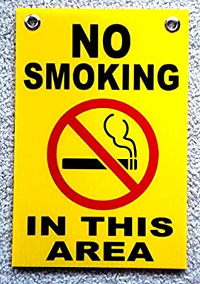"""1 Pc Hair-raising Unique No Smoking in This Area Sign Outdoor Decal Warning Message Indoor Declare Not Allowed Stickers Window Businesses Doors Plastic Sticker Windows Home Size 8"""" x 12"""" w/ Grommets"""