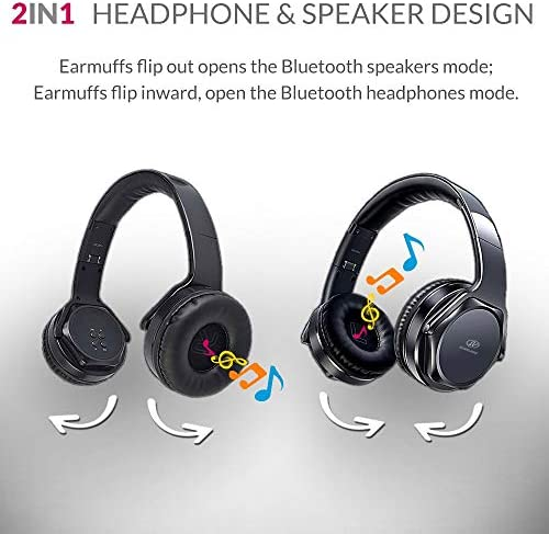Bluetooth Headphones Over-Ear 2 in 1 Cordless Foldable Twist-Out Speaker Wireless Stereo Bass Headphone with NFC FM Radio AUX TF Card Slot Sports Retractable Headband Headset Black