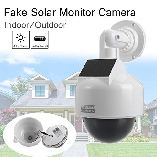 SODIAL Solar Powered fake cameras Dummy CCTV Camera security Waterproof with LED Lights