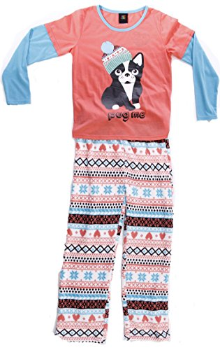 Just Love Two Piece Girls Pajamas Set,Pug Me,14-16 ()