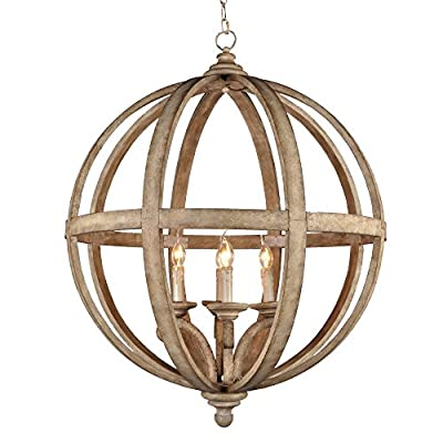 Y Decor LZ3225-4 Modern, Transitional, Traditional 4 Light Wood Orb Chandelier By Y Décor, Antique, Wood