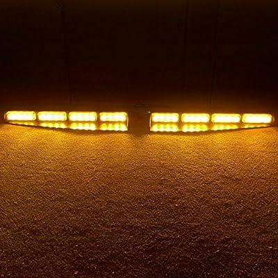 VSLED 2-16 LED 96 Watt Car Truck Emergency Beacon Light Bar Exclusive Split Visor Deck Dash Strobe Warning LightBar Amber Light: Automotive