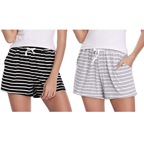 Hawiton 1 & 2 PCS Women Striped Cotton Sleeping Pajama Bottoms Exercise Fitness Shorts