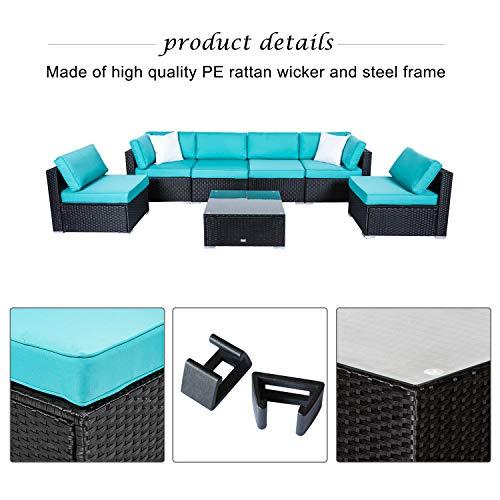 Peach Outdoor Patio PE Wicker Sofa Set 2 Pillows and Tea Table