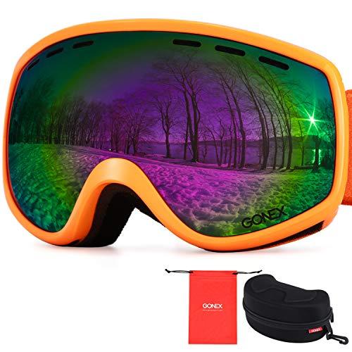 Gonex Kids Ski Goggles Anti Fog Snow Board Goggoles for Youth Children Toddler (Orange Frame Colored Lens)