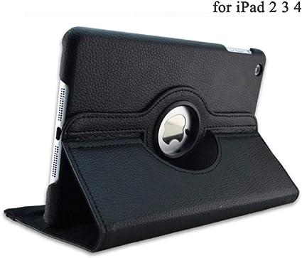 Estuche Plegable magnético para iPad 2/3/4 Folio PU Funda de Cuero para iPad 2 3 Estuches para Soporte Smart Tablet Capa A1395 A1396 A1430-para iPad 2 3 4 Negro: Amazon.es: Informática
