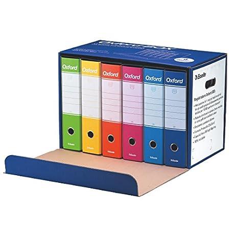 Contenitori Per Documenti Ufficio.Esselte Oxford Box 390785110 6 Raccoglitori Oxford Con Scatola Formato Protocollo Cartone Dorso 8 Cm Per Raccoglitore Multicolore