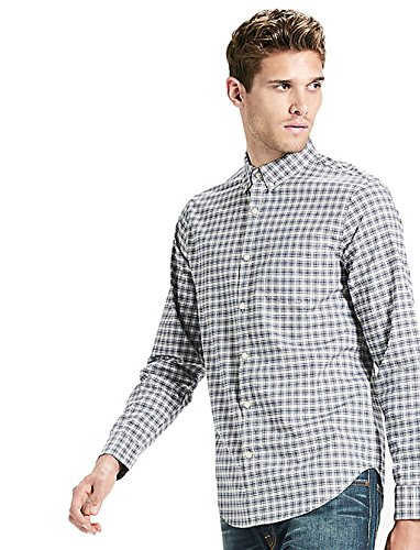 - Lucky Brand Mens Heritage Plaid Button-Down Shirt (Navy/Natural, Large)