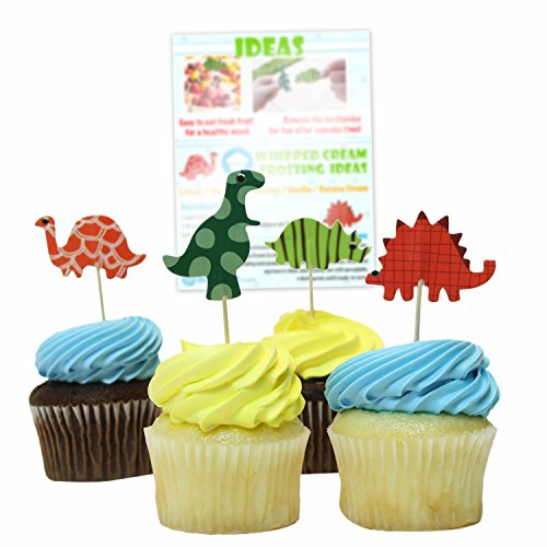 Bonitolife Assorted Dinosaur Cupcake Toppers with Bonus Tips, Recipes and Coloring Pages PDF - For Arts & Crafts, Party Supply Favors, Decorations, Birthdays, and Celebrations - Set of