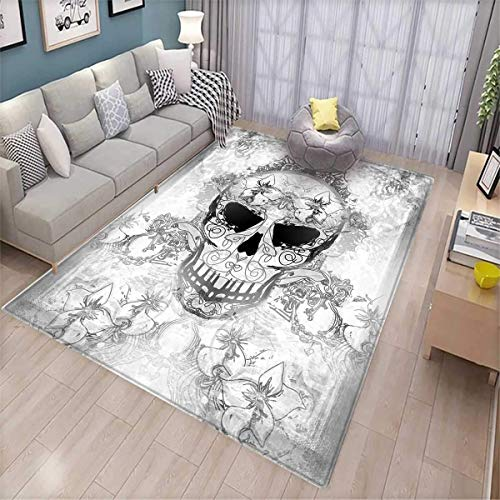 Day of The Dead Room Home Bedroom Carpet Floor Mat Skull with Oriental Paisley Motifs Festive Celebration Print Floor Mat Pattern Pale Grey and White