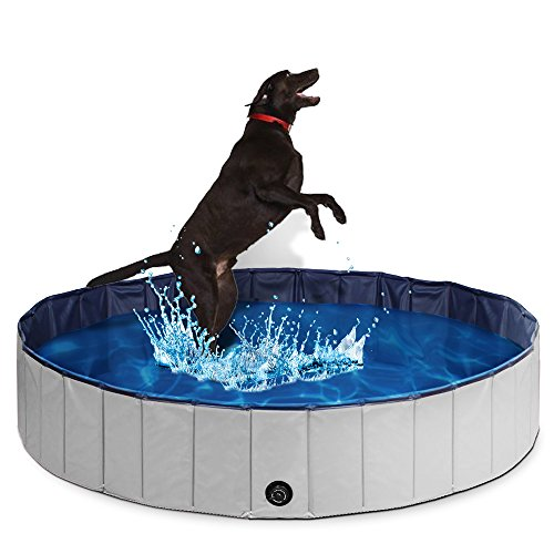 PUPTECK Foldable Dog Swimming Pool – Outdoor Portable Pet Bathing Tub Extra Large