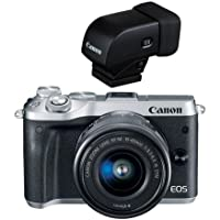Canon EOS M6 Mirrorless Digital Camera Silver Kit with EF-M 15-45mm f/3.5-6.3 IS STM Lens - With Canon EVF-DC1 Electronic Viewfinder
