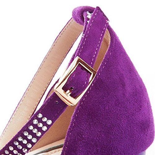 Allhqfashion Donna Sandali Di Pelle Di Pecora Tacco Basso A Punta Con Tacco Quadrato Viola
