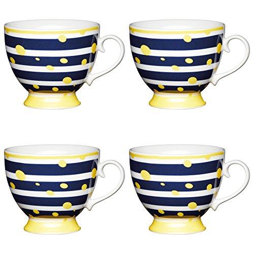 Kitchen Craft Large Bone China 'Yellow Spot' Footed Stripe-Patterned Mugs, 400 ml - Blue/Yellow (Set of 4)