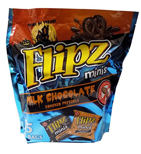 Flipz Minis Milk Chocolate Covered Pretzels - 25 0.5 oz Halloween Treat Bags, Manufactured in a Facility That Does NOT Process Peanuts (Peanut Allergy Safe Halloween Candy)