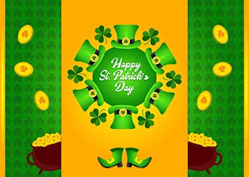 New St Patrick s Day Shamrock Photography Backdrop 7x5ft Ireland Lucky Party Pot of Gold Leprechaun Hat Boot Green Clover Leaf Photo Background for Pictures Customized Photo Booth Props