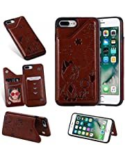 Ostop Compatible with iPhone 8 Plus/iPhone 7 Plus Case,Brown Cat Flowers Pattern PU Leather Wallet Phone Case with Card Slots Stand Holder,Soft TPU Silicone Shockproof Back Cover