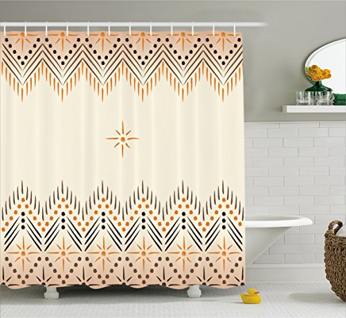 Ambesonne Geometric Shower Curtain, Vintage Primitive Aztec Motif with Folk Art Effect Print, Cloth Fabric Bathroom Decor Set with Hooks, 84