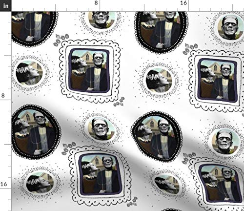 Spoonflower Frankenstein Fabric - Halloween Funny Retro Kitsch Goth Vintage by Shopcabin Printed on Basic Cotton Ultra Fabric by The -