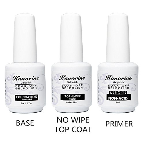 Kanorine Gel Nail Polish Base Coat + No Wipe Top Coat +Primer 8ml 3PCS kit by Kanorine
