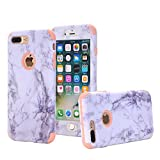 iphone 7 Plus Case,iphone 8 Plus Case,SUNWAY [Marble Series] Dual Layer Slim Fit Hybrid Protection Anti-Scratch Shock Absorbing PC TPU Skin Hard Cover for Apple iphone 8 Plus/7 Plus - Pink
