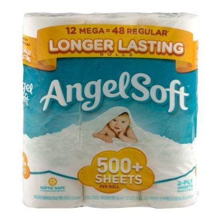 Angel Soft Toilet Paper Mega Rolls 528 sheets 12 rolls Bath