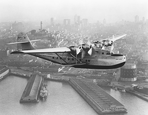 Pan American China Clipper and San Francisco Skyline #1 - Vintage Photograph (16x24 Fine Art Giclee Gallery Print, Home Wall Decor Artwork Poster)