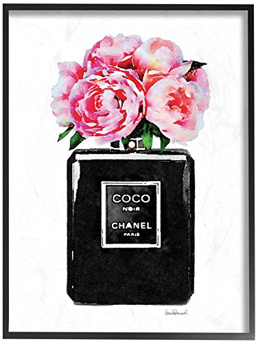 (The Stupell Home Décor Collection Glam Perfume Bottle Flower Black Peony Pink Oversized Framed Giclee Texturized Art, 16 x 20,)