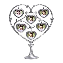 QTMY Metal Family Tree with 6 Hanging Heart Picture Frames Collage Desk Ornaments