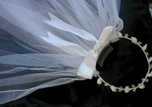 (Pampered Darlings Girl's First Communion Tiara Wreath Veil Headpiece)