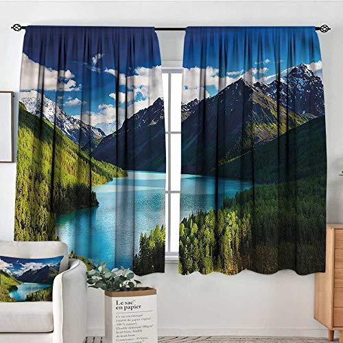 Anzhutwelve Nature,Decor Curtains Mountain Range Lake Pines 52
