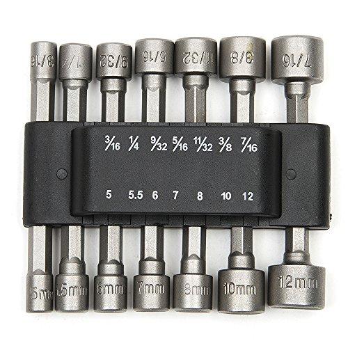 """Tonsiki 14 Pcs 1/4"""" Hex Power Nut Driver Drill Bit Set Metri"""