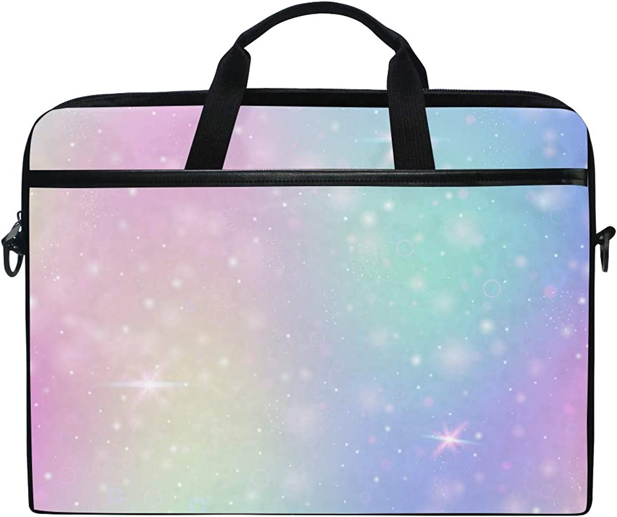 AGONA Magic Rainbow Galaxy Fairy Sparkles Stars Laptop Shoulder Messenger Bag 15 inch Case Sleeve for 14 Inch Laptop Case Laptop Briefcase Compatible Notebook MacBook Ultrabook Chromebook for Teens