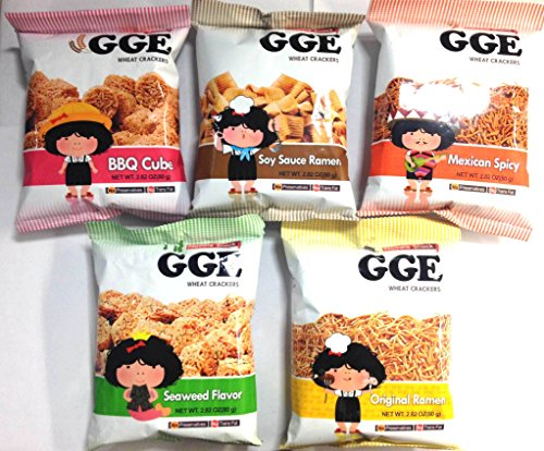 Wei Lih GGE Wheat Crackers Value Package (BBQ Cubes, Soy Sauce Ramen, Original Ramen, Seaweed Flavor, Mexican Spicy) Soy Cubes