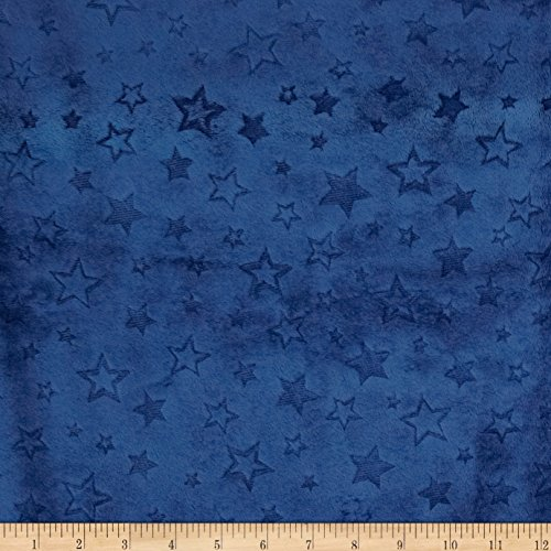 Embossed Star - Shannon Fabrics Minky Embossed Star Cuddle Fabric by The Yard, Midnight Blue