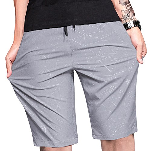 LTIFONE Mens Shorts Gym Training Bodybuilding Exercise Shorts Lightweight Quick Dry Spandex Mens Active Workout Shorts Athletic Summer Shorts(Grey,S)